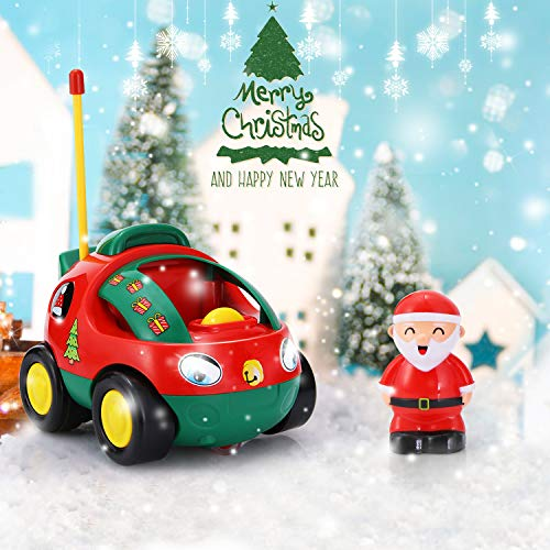 ANTAPRCIS Cartoon Remote Control Car Racer Toys for Toddlers, Christmas Birthday Gift Present for 3 Year Olds Boys Girls Kids, Red