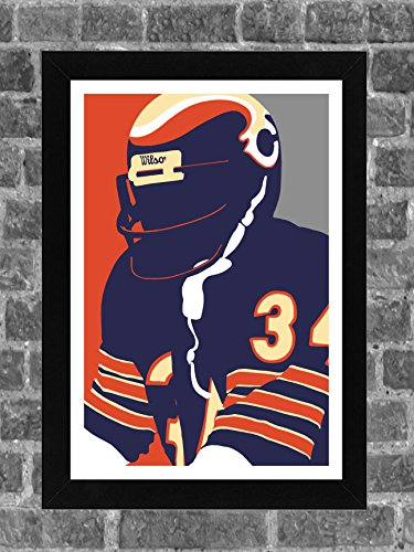 Chicago Bears Walter Payton Portrait Sports Print Art