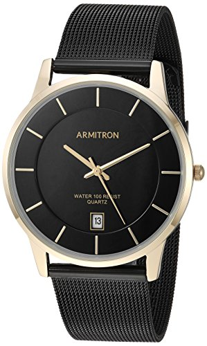 Armitron Men's Quartz Stainless Steel Dress Watch, Color:Black