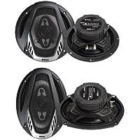 2) Boss NX654 6.5 400W + 2) NX694 6x9 800W 4-Way Car Audio Coaxial Speakers