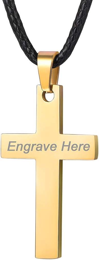 PROSTEEL Collar Cuero con Colgante de Cruz Sencilla de Acero Inoxidable 55cm/61cm/66cm Colgante Religioso para Hombre Mujer Niños