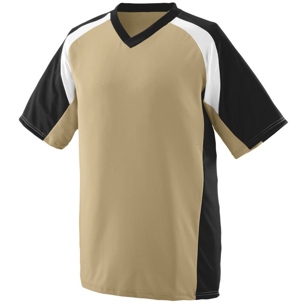 Augusta Youth WickingポリエステルVネック半袖( 1536 ) B00IUJ0Y4KVegas Gold/Black/White Medium