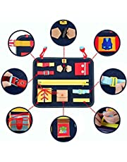 Mia Bambina Toddler Busy Board - Montessori Basic Skills Activity Board for Fine Motor Skills & Learning to Dress - Educational Learning Developmental Toys with Zippers Shoe, laces, Buttons, Buckle Board for Preschooler Kids - Blue