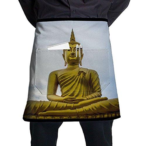 Jgiurhguij Golden Gautama Buddha Restaurant Cooking Kitchen Half Body Waist Aprons Sewing Pocket Apron -