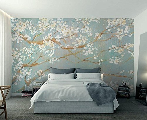 [Customize,Contact Us],Custom 3D Wallpaper Murals Plain Hand Painted Oil Painting Cherry Blossom Tv Background Wall Wallpaper for Walls 3D,by ZLJTYN (Bark Wallpaper)