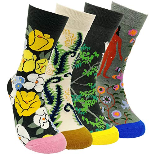 Womens Colorful Dress Crew Socks - HSELL Flower Van Gogh Funky Patterned Casual Cotton Socks (Flowers G - 4 Pairs)