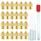 CKANDAY 25 Pack 3D Printer Nozzles,MK8 Brass Extruder Nozzle Print Head & 5 Cleaning Needles for 1.75mm Makerbot Creality CR-10 ANET A8 CR-10 M6,7 Different Sizes(0.2 0.3 0.4 0.5 0.6 0.8 1.0 mm)