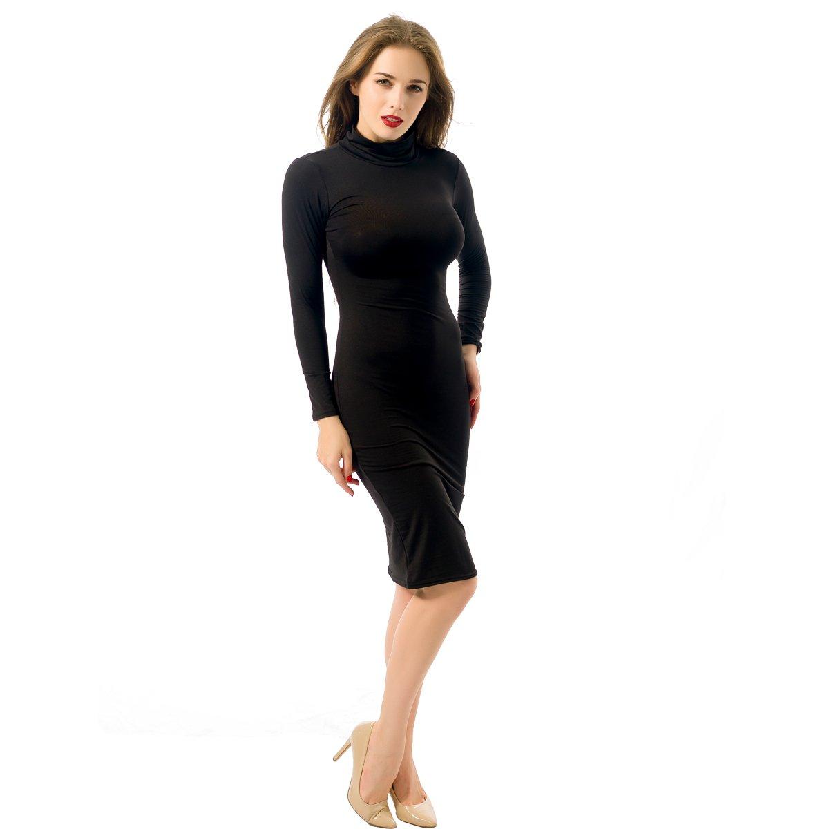 ALAIX - Atractivo Vestido de Cuerpo Entero para Mujer, Falda con Manga Larga, Cuello Alto y Largo por Debajo de Las Rodillas: Amazon.es: Ropa y accesorios