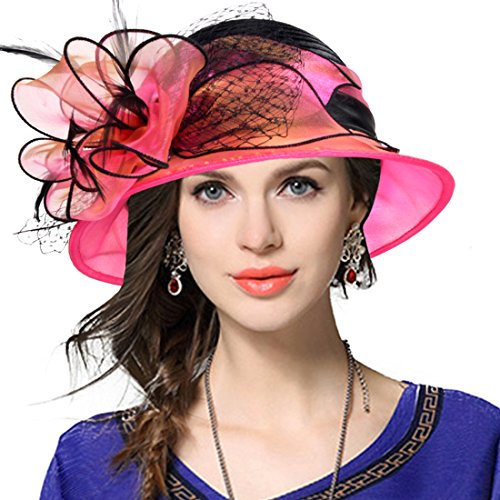 Lady Derby Dress Church Cloche Hat Bow Bucket Wedding Bowler Hats (Two-Tone-Rose, Medium) by VECRY