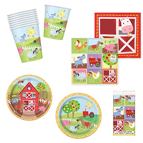 Unique Farm Party Bundle | Luncheon & Beverage Napkins, Dinner & Dessert Plates, Cups, Centerpieces, Table Cover | Great for Barnyard/Country/Animal Birthday Themed -
