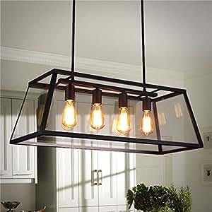 GD 4 Head Industrial Chandelier LED Ceiling Light Modern Large Pendant Lamp for Kitchen Room AC110-220V