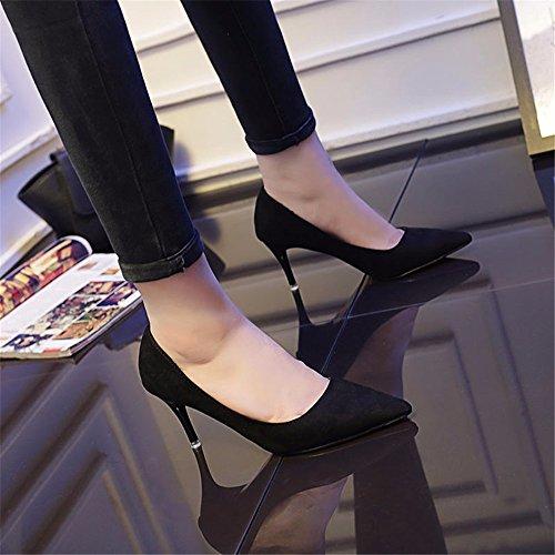 HXVU56546 Durante La Primavera Y El Otoño Nuevos De Tacón Alto De Satén Zapatos De Mujer Fina Con La Punta Del Zapato, Con Zapatos De Mujer Negro ,40,