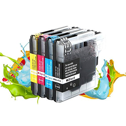 Color Dcp Brother 165c (LC 61 Ink Cartridges, Perfectink Compatible LC61Ink Cartridges for Brother DCP MFC 165c 375CW 385CW 395DN 858CW J125 J140W 250C 255CW 290C 295CN 490CW Printers (1Black,1Cyan,1Magenta,1Yellow))