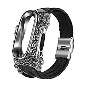 Sumeier Fashion Metal Cover Case Leather Band Straps Smart Band Wristbands Bracelet Replacement Accessaries for Xiaomi Mi 4 Watch