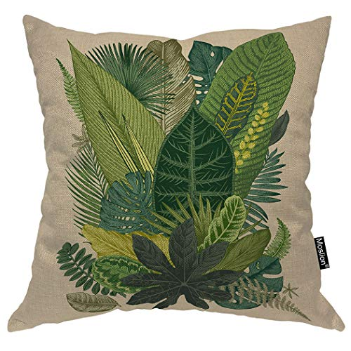 Moslion Leaf Pillows Vintage Tropical Palm Tree Fern Banana Leaves Botanical Plant Throw Pillow Cover Decorative Pillow Case Square Cushion Accent Cotton Linen Home 18x18 Inch Green
