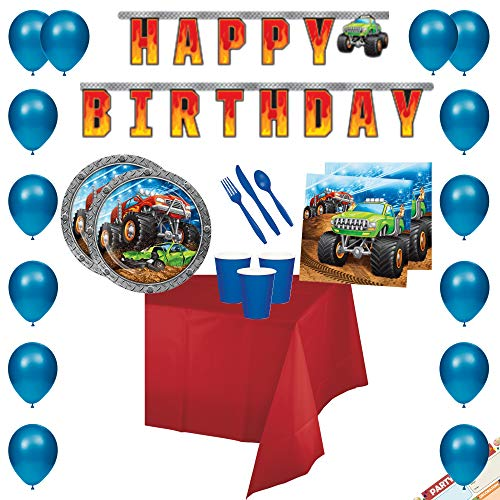 Monster Truck Birthday Party Supplies Decorations (Large Banner + Balloons) Tableware (Plates + Napkins + Cups + Tablecloth + Cutlery) | Perfect for Monster Jam Theme | Complete Bundle | Serves 16 -