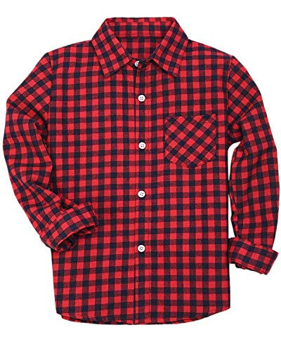 Boys Long Sleeves Button Down Check Plaid Flannel Woven Shirt Blouse, Red Black, Age 18M-24M (18-24 Months) = Tag 90