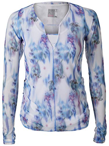 Lucky In Love Floral Fantasy Bloom Mesh Overlay L/S Top (Medium)