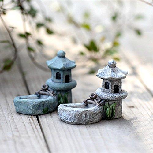 danmu Mini resina Pavilion con un pequeño estanque en miniatura casa jardín de hadas Micro Paisaje Decoración de Hogar Jardín Macetas Bonsai Craft Decor: ...