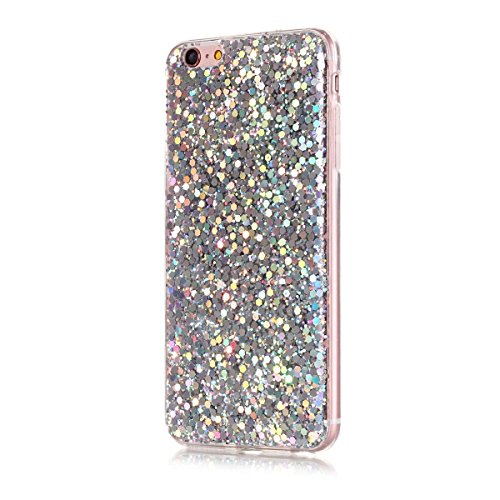 Moonmini Ultra Slim Fit Bling Glitter Shiny Soft TPU Beauty Back Case Cover for iPhone 6 Plus / iPhone 6s Plus – Silver