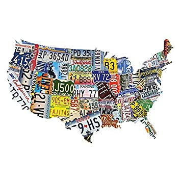 Amazoncom USA License Plates Jigsaw Puzzle Pieces Toys - Us map license plate puzzle