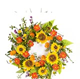 Melrose Pack of 2 Vibrant Orange and Yellow Summer Artificial Sunflower Wreaths 22""