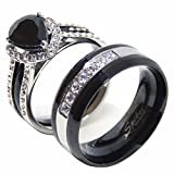 Lanyjewelry His Hers Couples Ring Set Womens Black Pear CZ Promise Ring Mens 7 CZs Wedding Band - Size W7M10