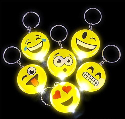 1.5'' LIGHT-UP EMOTICON KEYCHAINS, Case of 12