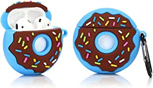 LKDEPO 3D Donuts Airpods Case with Keychain, Funny Cute Food Skin Design Silicone Cartoon Airpods Cover Compatible for Airpods 1/2 (Stylish Designer Designed for Teens Boys and Girls) Donuts Blue