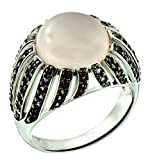 7.24 Carats Natural Rose Quartz Rhodium-Plated 925 Sterling Silver Statement Ring, Dome Style (8)