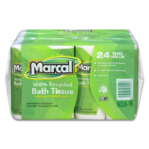 - Marcal Toilet Paper, 100% Recycled, 2-Ply, White Bath Tissue - 168 Sheets Per Roll, 4 Rolls Per Pack, 6 Packs Per Case for 24 Giant Rolls, Green Seal Certified 06024
