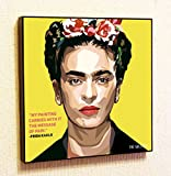 Frida Kahlo de Rivera Spain Decor Motivational Quotes Wall Decals Pop Art Gifts Portrait Framed Famous Paintings on Acrylic Canvas Poster Prints Artwork (20x20'' (50.8cm x 50.8cm))