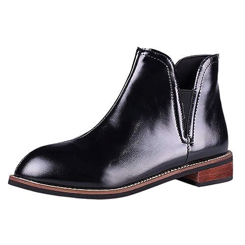 ALIKEEY Zapatos De Punta Redonda para Mujer Botines De Color Puro Zapatos De Tacón Cuadrado De Cuero Boots Crema Mocasines Negros Rojos Ante: Amazon.es: ...
