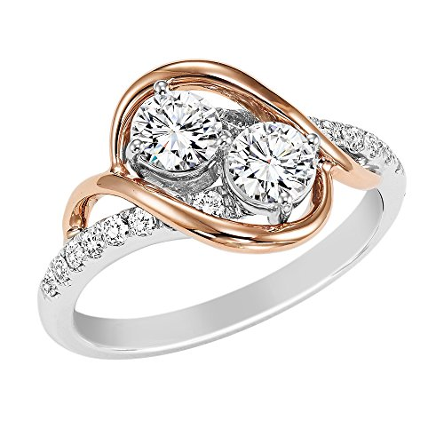 OMEGA JEWELLERY 14K White-Rose Gold Round Cubic Zirconia Two Stone Bypass Ring Engagement Ring (2.50 Ct) -