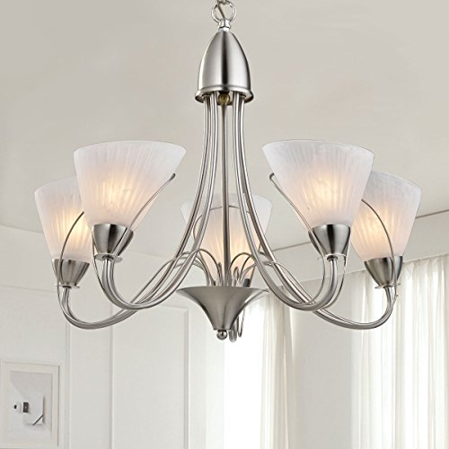 5-Light Silver Iron Modern Chandelier with Glass Shades (B-HKP31262-5) ()