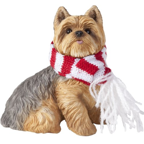 (Sandicast Yorkshire Terrier with Red and White Scarf Christmas Ornament)