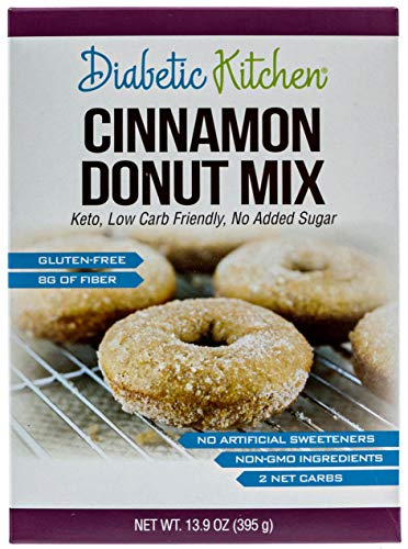 Diabetic Kitchen Cinnamon Donut Mix Is Keto-Friendly, Sugar-Free, Low-Carb, Gluten-Free, 8g Fiber, Non-GMO, No Artificial Sweeteners, No Sugar Alcohols (Box) 13.9 oz