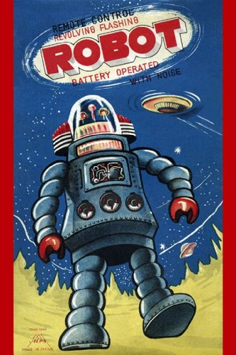 Robot and UFO, 12x18 Poster, Heavy Stock Semi-Gloss Paper Print