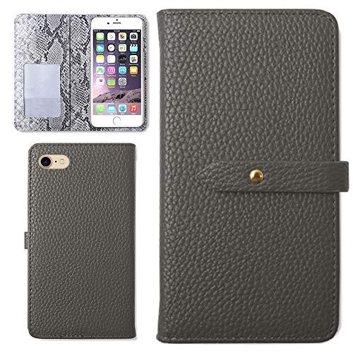 iPhoneX ケース カバー ダスティカラー パイソン 柄 手帳型 スマホケース カード収納 (色 ブラック) Apple