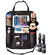 Buffland Car Seat Organizer - Backseat Organizer - Exclusive Car Organizer for Kids with Increased Tablet Holder - Large Bottle Pockets Car Seat Storage - Waterproof and Durable Back Seat Organizer