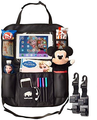 Car Back Seat Organizer with Large Tablet Holder Pocket for Kids - Durable Waterproof Kick Mat Storage & Seat Back Protector - 2 Backseat Headrest Hooks - Purse Backpack Hanger & Bottle Holder