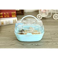 Misyue Portable Carrier Hamster Carry Case Cage with Water Bottle Travel&Outdoor for Hamster Small Animals (Blue)