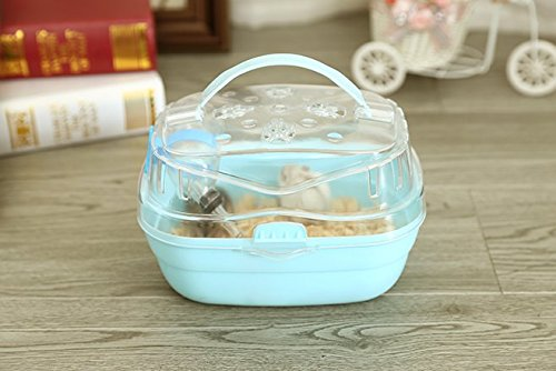 Misyue Portable Carrier Hamster Carry Case Cage with Water Bottle Travel&Outdoor for Hamster Small Animals (Blue) (Travel Hamster Cage)