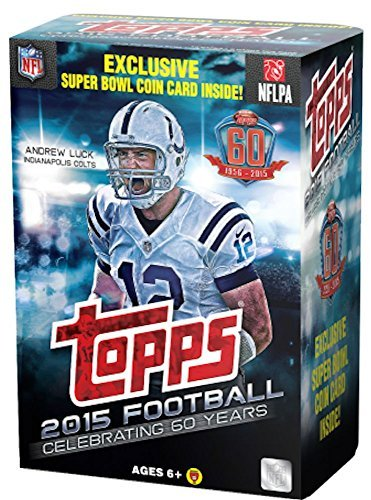 (2015 Topps NFL Football EXCLUSIVE Factory Sealed Retail Box with Special Commemorative SUPER BOWL COIN! Includes ROOKIE in Every Pack! Look for RC & Autographs of Jameis Winston,Marcus Mariota & More!)