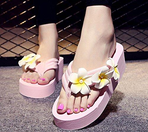 QZUnique Women's Summer Fashion Bohemia Creative Elegant Flip Flops Pink US 6-6.5 by QZUnique (Image #4)
