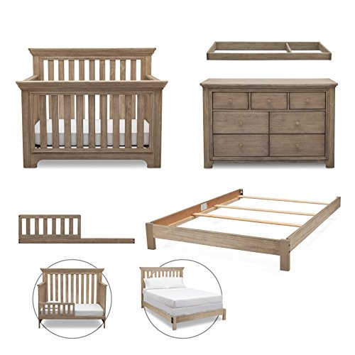 Simmons Kids Langley 5-Piece Nursery Furniture Set (Convertible Crib, Dresser, Changing Top, Toddler Guardrail, Full Size Conversion), Rustic WhiteWash by Delta Children