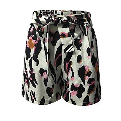 Women's Casual Paper Bag Shorts Wide Leg Elastic Waist Leopard Print Self Bow Tie Summer Hot Shorts Loose Lounge Bottoms with Pockets