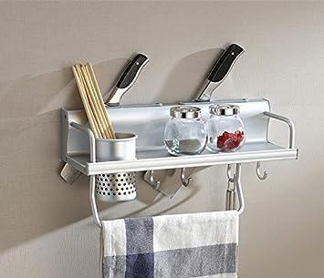 Cocina multifunción Pan pot las estanterías de almacenamiento, rack de pared Especiero Bandeja para rack de almacenamiento con gancho,longitud 400mm.