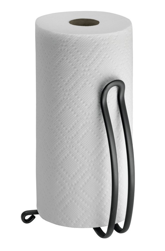 mDesign Freestanding Kitchen Roll Holder - Paper Towel Holder - Kitchen Towel Holder - No Drilling Required - Matte Black MetroDecor 1830MDK