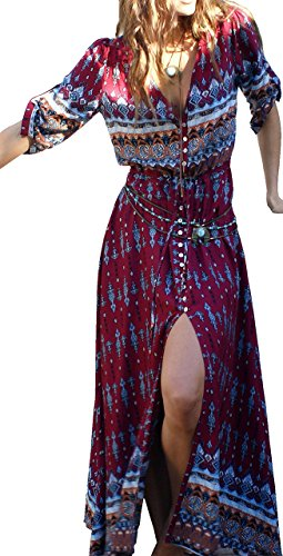 Split Up Button Boho Women's Flowy Beach Floral Party Summer Print Maxi Dress Burgundy TqwAA0YX